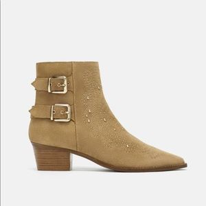 NWT Zara Studded Suedes Ankle Boots
